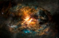 Background of fantasy alien galaxy with glowing clouds and stars stock images