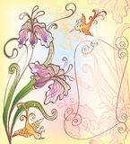 Background with fantasy flowers and bird Royalty Free Stock Photo