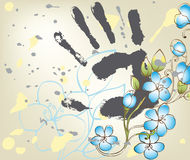 Background with fantasy flowers and hand Royalty Free Stock Image