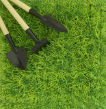Background on the farming and the garden with a rake and shovel Royalty Free Stock Image