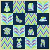 Background Fashion background  icons set - Illustration Stock Photos
