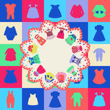 Background of Fashion girl dresses. Clothes for children Royalty Free Stock Images