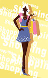 Background with fashion girl and shopping bags Stock Photos