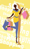 Background with fashion girl and shopping bags Royalty Free Stock Images