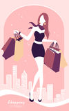 Background with fashion girl and shopping bags. Vector background with fashion girl and shopping bags Stock Photography
