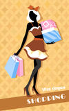 Background with fashion girl and shopping bags Royalty Free Stock Image