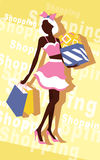 Background with fashion girl and shopping bags Stock Photography