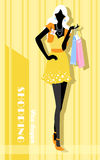 Background with fashion girl and shopping bags Royalty Free Stock Photography