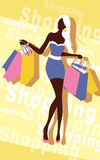 Background with fashion girl and shopping bags Stock Photo