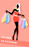 Background with fashion girl and shopping bags Royalty Free Stock Photos
