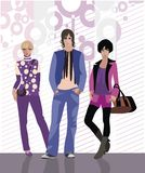 Background with fashion models - boy and two girls Stock Images