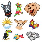 Pop art style background. Background with fashion nature patch badges. Dogs, birds, sun, cloud, butterfly, fish and other. Comic book style  stickers, pins Stock Images