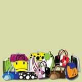Background with fashionable handbags. Royalty Free Stock Photo