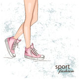 Background with fashionable sneakers. Stock Photography