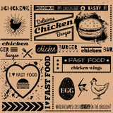 Background with fast food symbols. Menu pattern. Vector Illustration with chicken burgers and lettering on craft paper background. Decorative elements for Royalty Free Stock Images