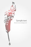 Background with feather and music notes Stock Image