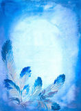 Background with feathers. Hand-painted blue background with feathers. I have painted this picture by myself with watercolors Royalty Free Stock Images