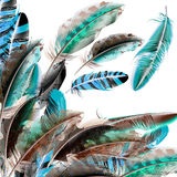 Background with feathers in realistic style. Fashion vector background with blue white and brown feathers in realistic style vector illustration