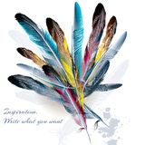 Background with feathers symbol of inspiration and writing Royalty Free Stock Image