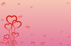 Background for February. Red hearts. Many red hearts for the Valentine day Stock Images