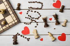 Background by February 14: a red heart, the words & x22;I love you& x22; a. Nd chess pieces. Valentine& x27;s Day, greeting card stock image
