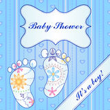 Background with feet baby shower boy gradient Royalty Free Stock Images