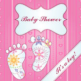 Background with feet baby shower girl gradient Stock Photography