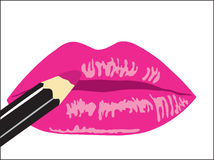 Background. Female lips with lipstick Royalty Free Stock Images