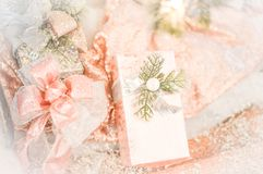Background Feminine Christmas Packages Pink Bows stock image