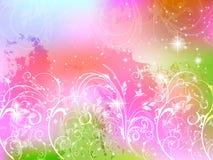 Background fern plant pink. Background illustration of beautiful landscape Stock Photo