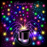 Background festive bright shiny hat and bright glow. Illustration background festive bright shiny hat and bright glowing fireworks Stock Photography
