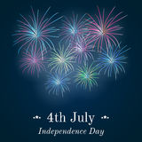 Background with festive fireworks in honor of Independence day. Festive fireworks in honor of Independence day. Card for 4th July. Vector Illustration Stock Photos