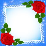 Background festive frame with red roses Royalty Free Stock Photography