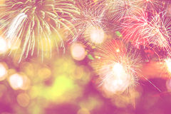 Background festive New Year. With fireworks and bokeh Royalty Free Stock Images