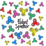 Background with fidget spinner text hand lettering calligraphy Stock Photo