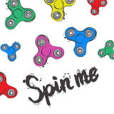 Background with fidget spinner text hand lettering calligraphy Stock Photos