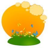 Background the field with camomiles. Cartoon background the field with camomiles Stock Images