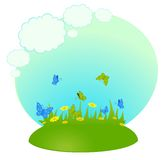 Background the field with camomiles. Cartoon background the field with camomiles Stock Photography