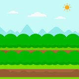Background of field rows with green bushes. Background of field rows with green bushes vector flat design illustration. Square layout Stock Photo