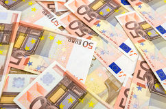 Background of fifty euro banknotes Stock Images