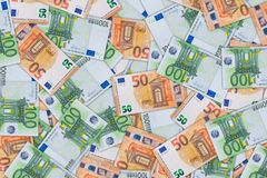Background from a of fifty and hundred euro banknotes stock images