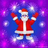 Background with a figure of Santa Claus with hands up on a blue background and stylized luminous flowers. Vector. Blue background with a figure of Santa Claus Stock Image