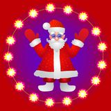 Background with a figure of Santa Claus with hands up on a red background. Illustration. Red background with a figure of Santa Claus . Illustration with bright Stock Photo