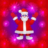 Background with a figure of Santa Claus with hands up on a red background and stylized luminous flowers. Illustration. Red background with a figure of Santa Stock Images