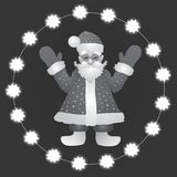 Background with a figure of Santa Claus with hands up on a white- black background. Illustration. Background with a figure of Santa Claus . Illustration with Stock Photos