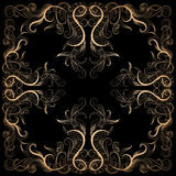 Background with filigree hand-drawing ornament. Vector background with filigree hand-drawing ornament on black for design Royalty Free Stock Photo