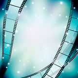 Background with filmstrip. And stars Royalty Free Stock Image