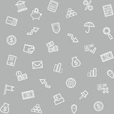 Background, Finance, money, Economics, seamless, gray. Seamless vector background on the topic of Finance, economy and banking. White line icons on gray Stock Photos