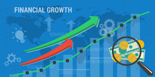 Background financial growth. Vector business background. Concept background financial growth, improvement, analytics, earnings growth. Arrows shows growth, money Royalty Free Stock Photos