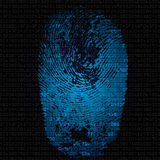 Background with fingerprint and hexadecimal code. Blue background with fingerprint and hexadecimal code. Modern security concept. Vector illustration Royalty Free Stock Photography
